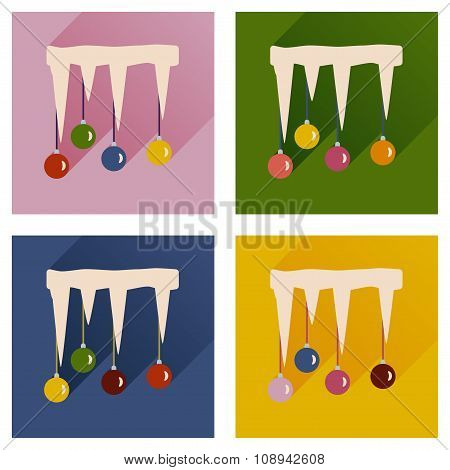 Set of flat icons with long shadow Christmas balls icicle