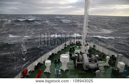 Ship At Rough Sea