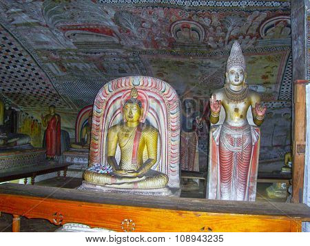 Inside Of Rock Temple In Dambulla, Sri Lanka.