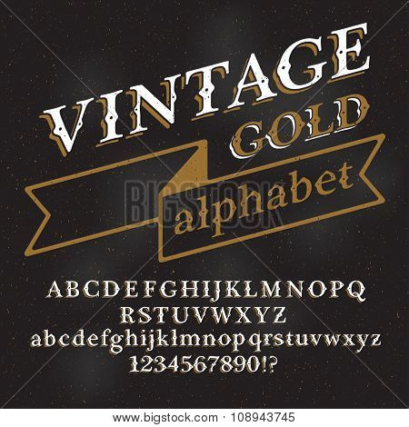 Retro vintage gold alphabet font. Custom type letters and numbers on a dark grunge background. Stock vector typography for labels, headlines, posters etc.