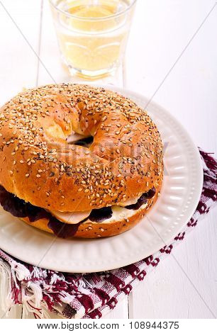 Cheese And Smoked Chicken Breast Bagel