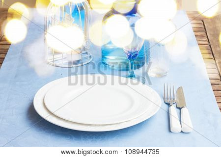 Tableware in blue colors
