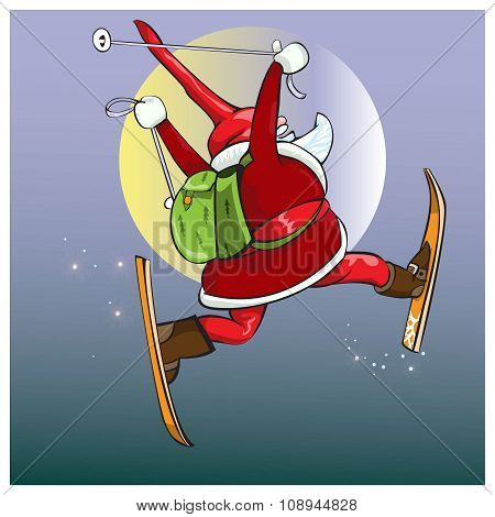 Santa Claus hurries with gifts on the magic skis.