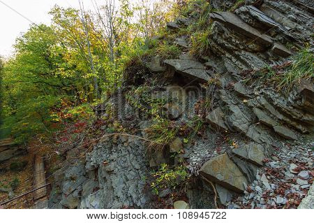 In mountain gorge