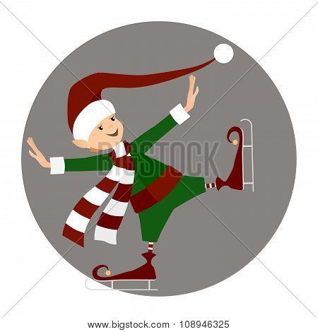 Christamas happy elf ice-skating on grey frame