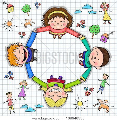 Circle of kids holding hands, vector illustration