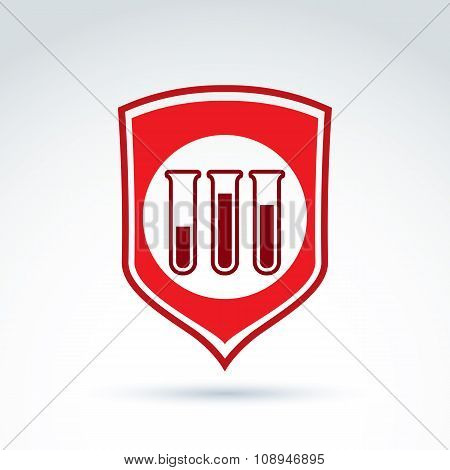 Vector Illustration Of A Red Shield Symbol And Test Tubes With A Blood Sample. Medical Cardiology La