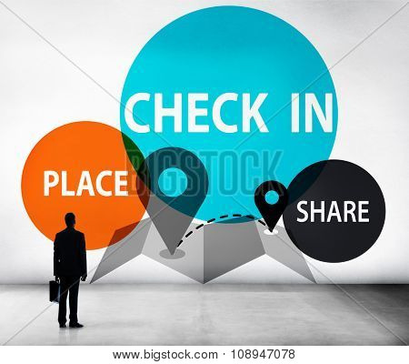 Check in Direction Navigation Share Application Concept