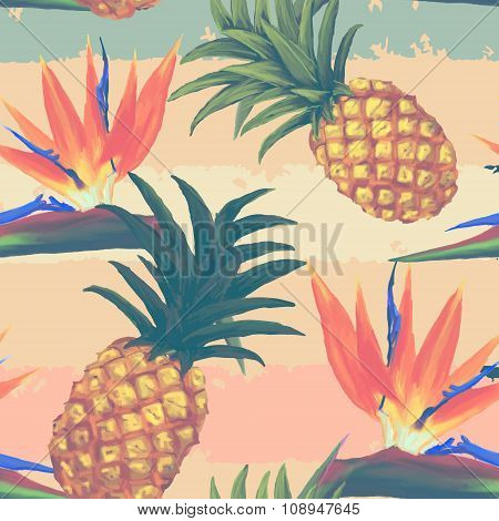 tropical exotic flowers and pineapple seamless pattern