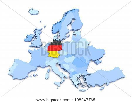 Europe Map, Germany With Flag