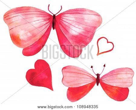 Set Of Watercolor Pink Butterflies And Hearts On White Background