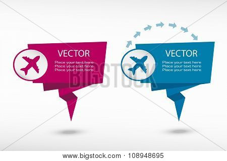Airplane On Origami Paper Speech Bubble Or Web Banner, Prints