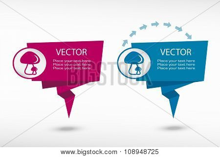 Mushrooms Icon On Origami Paper Speech Bubble Or Web Banner, Prints
