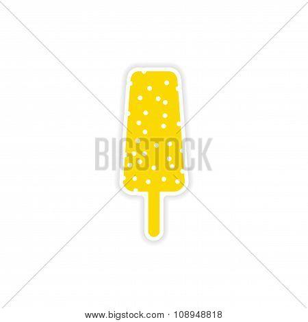 icon sticker realistic design on paper ice cream nuts