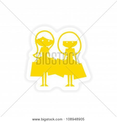 icon sticker realistic design on paper girlfriends shopping