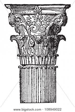 Corinthian capital, vintage engraved illustration. Industrial encyclopedia E.-O. Lami - 1875.