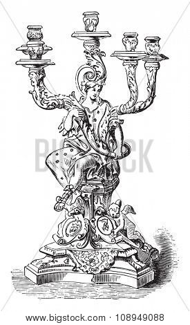 Candelabra of Dresden, vintage engraved illustration. Industrial encyclopedia E.-O. Lami - 1875.