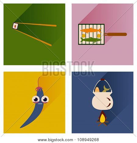 Vector set flat icons with long shadow exotic food