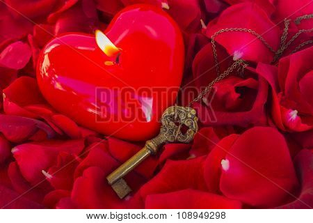 Key with the heart as a symbol of love