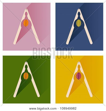 Vector set flat icons with long shadow nut and nutcracker