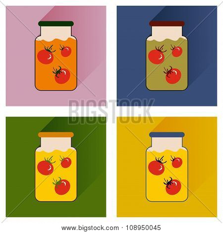Vector set flat icons with long shadow canned tomatoes