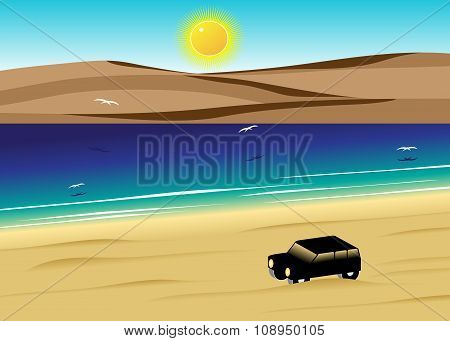 the car in the desert against water and dunes