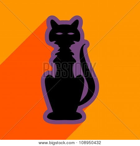 Flat with shadow icon and mobile application halloween cat