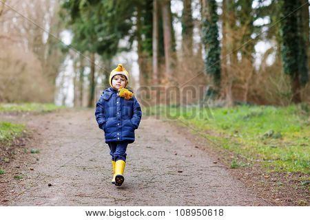 Cute little kid boy walking through autumn forest