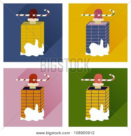 Set of flat icons with long shadow Santa in chimney