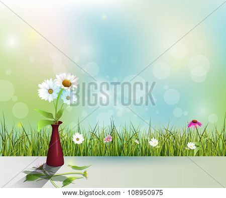 Vector White Daisy Flower In Red Vase On Light Color Floor
