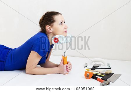 Beautiful Woman  Thinks About Repairs