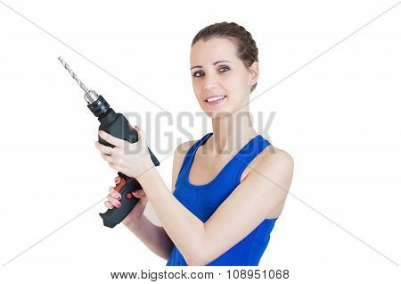 Beautiful Smiling Woman With Electric Drill In Hand