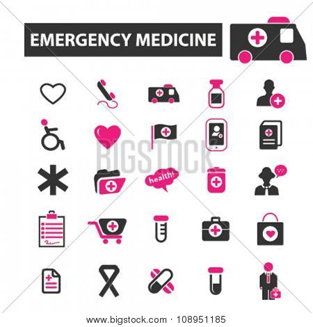 emergency medicine  icons, signs vector concept set for infographics, mobile, website, application