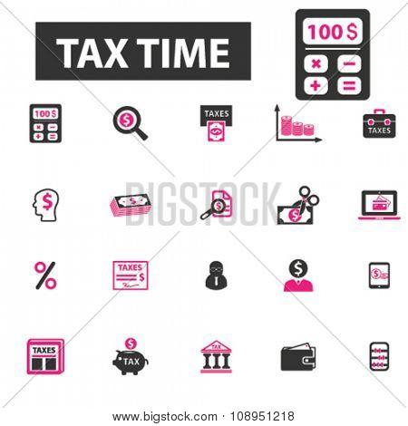 tax time, accounting, calculator  icons, signs vector concept set