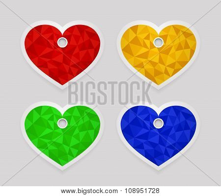Geometric shape from triangles. Set of labels in the shape of heart