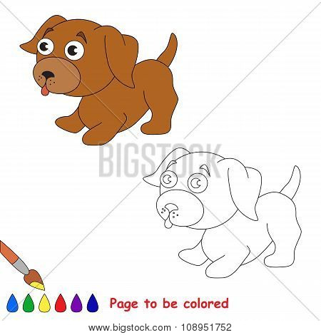 Vector cartoon little dog to be colored.