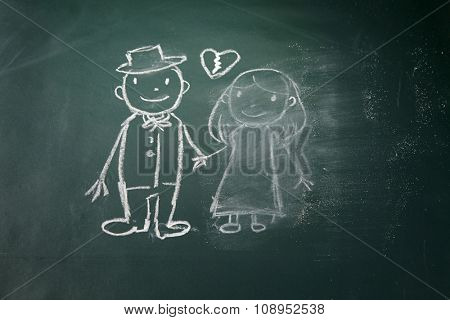 drawing on the chalkboard husband and wife breakup and women is being erase