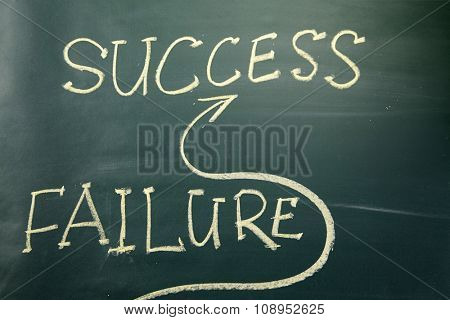 Success concept on blackboard - go straight to success and avoiding failure