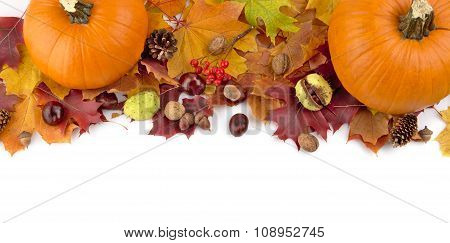 At The Top Pumpkins With Autumn Leaves For Thanksgiving Day