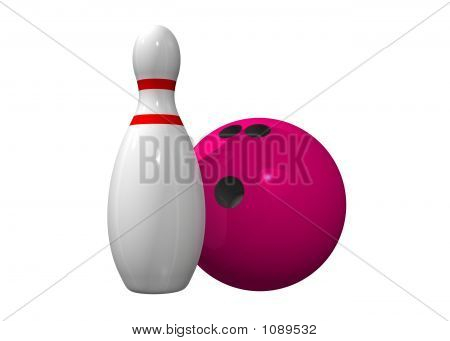 Single Bowling Pin With Bowling Ball