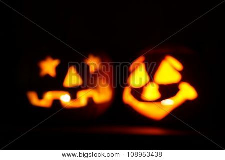 Halloween pumpkins out of focus