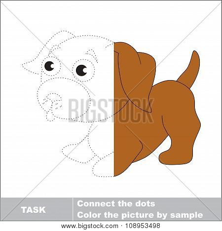 Vector trace game. Little dog to be colored.