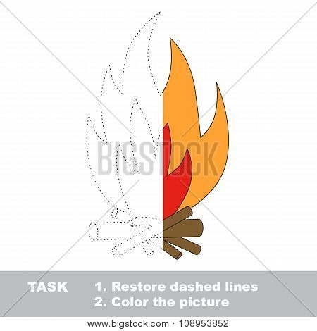 Vector trace game. bonfire to be colored.