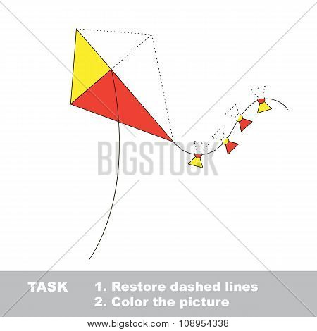 Vector trace game. toy kite to be colored.
