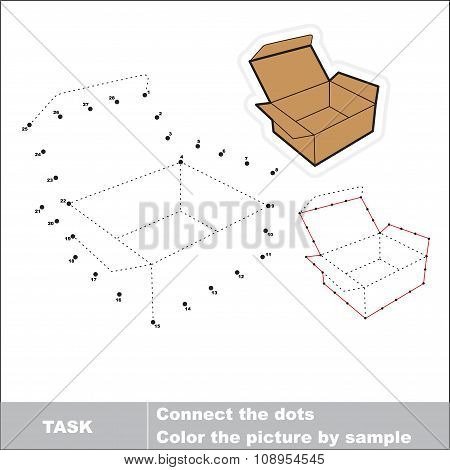 Vector numbers game. Brown opened empty box to be traced.