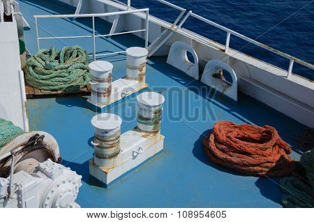 Colored Ropes On The Ship