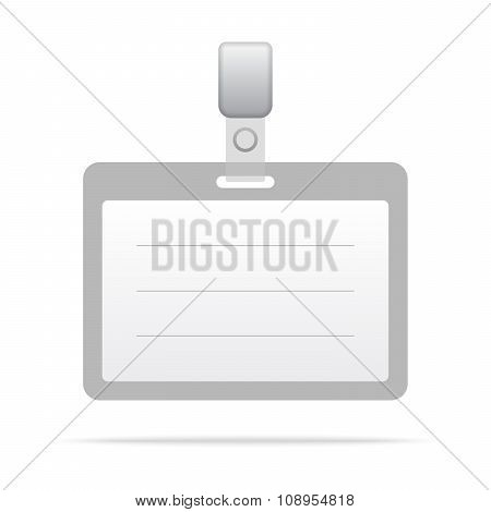 Gray blank vector name tag isolated on white background