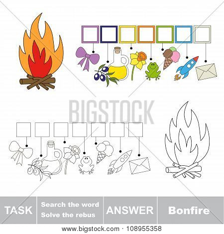 Vector game. Find hidden word bonfire. Search the word.