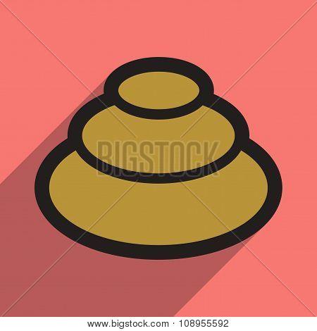 Flat with shadow icon wasabi on stylish background
