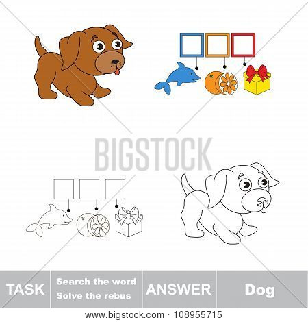 Vector game. Find hidden word dog. Search the word.